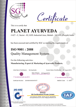 ISO Certificate Planet Ayurveda